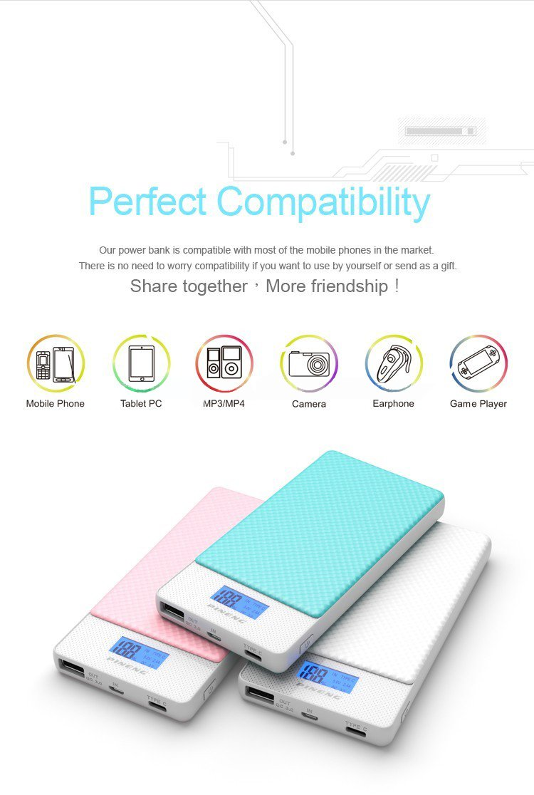 High capacity 15000mah customized power bank with display