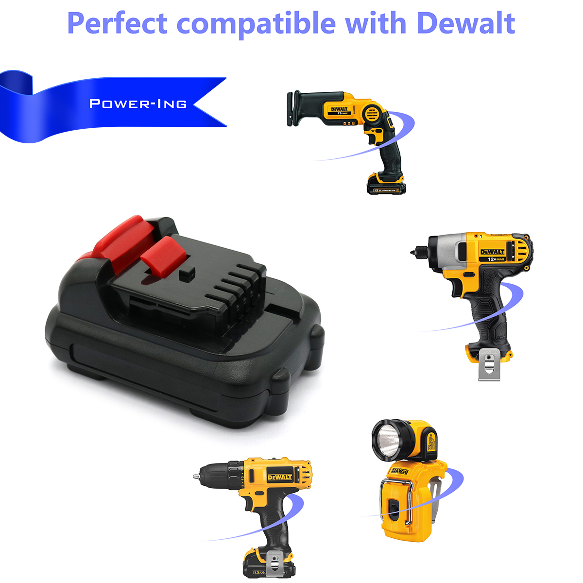 Power-ing For DCB120 Battery Dewalt,Upgraded 2.5Ah Dewalt 10.8v Battery 12V Max Lithium-Ion Battery Compatible with DeWalt DCB121 DCB127 DCB127-2, Dewalt 12 volt Li-ion Battery